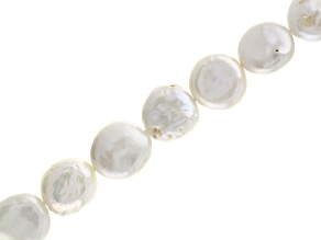 White Cultured Freshwater Pearl Appx 10-12mm Coin Shape Bead Strand Appx 15-16