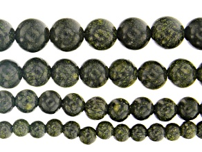 Serpentine appx 6mm, 8mm, 10mm & 12mm Round Large Hole Bead Strand Set of 4 appx 13-14
