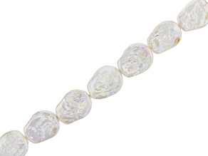 """White Cultured Freshwater Pearl Appx 20x17mm Irregular Coin Shaped Bead Strand Appx 15-16"""""""