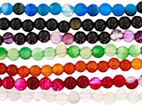 Multi Color Agate Appx 6mm Large Hole Round Bead Strand Set of 7 Appx 7