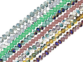 Chinese Crystal Appx 2mm Rondelle Bead Strand Set of 8 in Assorted Colors Appx 15-16