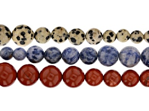 Multi-Stone Graduated appx 6-14mm Round Bead Strand Set of 3 appx 15""