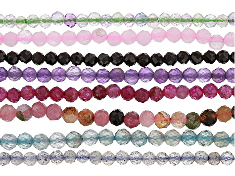 Multi-Stone Faceted appx 1.5-2.25mm Round Bead Strand Set of 8 appx 15-16""