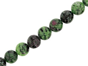 Ruby Zoisite & Zoisite Round appx 12mm Bead Strand appx 15-16