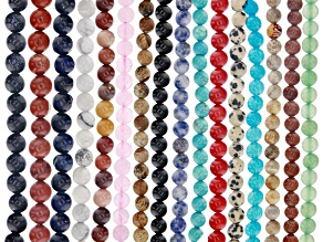 Multi-Stone Round appx 6mm Bead Strand Set of 16 appx 15-16