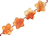 Matte Carnelian Carved appx 15x8mm Flower Bead Strand appx 15-16