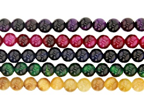 Multi-Color Tiger's Eye appx 6mm Bead Strand Set of 5 appx 15-16