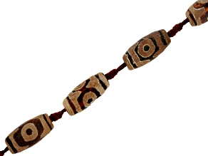 Matte DZI Inspired Quench Cracked Agate Black & Brown Eye Barrel Shape Bead Strand appx 15-16