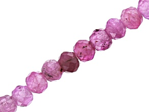 Ruby and Pink Sapphire Faceted appx 2mm Round Bead Strand appx 12-13