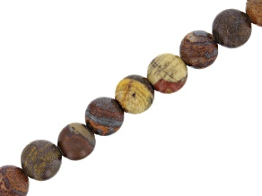 Matte Sunset Tiger Iron appx 6mm Round Bead Strand appx 15-16