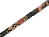 Rhodonite Tube appx 4mm Bead Strand appx 14-15""