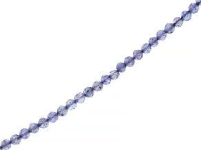 Tanzanite Faceted appx 2.5mm Round Bead Strand appx 15-16""