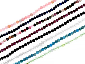 Multi-Stone Faceted appx 3mm Round Bead Strand Set of 8 appx 15-16
