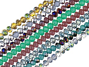 Chinese Crystal Appx 3mm Rondelle Bead Strand Set of 8 in Assorted Colors Appx 15-16
