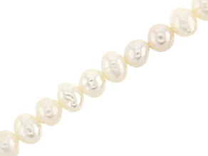 White Cultured Freshwater Pearl appx 5mm Potato Shape Bead Strand appx 14-15""