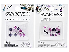 Swarovski® Create Your Style Crystal Bicones appx 4-6mm in Assorted Colors 45 Pieces Total.
