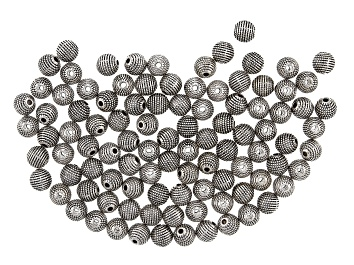Picture of Textured Metal Round appx 8mm Beads in Antique Silver Tone 100 pieces total