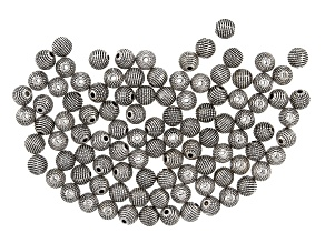 Textured Metal Round appx 8mm Beads in Antique Silver Tone 100 pieces total