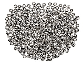 Metal Rondelle Beads in 2 Sizes in Antique Silver Tone Set of 300 Pieces Total