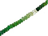 Tsavorite, Grossular Garnet & Tourmaline Shaded Mix Graduated Faceted Rondelle Bead Strand appx 18