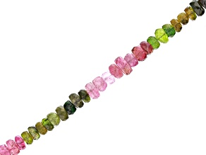 Multi-Tourmaline Faceted appx 4-6mm Rondelle Bead Strand appx 15-16""
