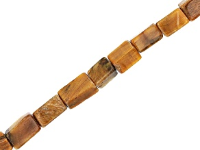 Tiger's Eye Rectangle appx 6x3mm Shape Bead Strand appx 15-16