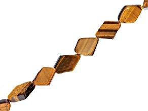 Tigers Eye Flat appx 11x7mm Diamond Shape Bead Strand appx 15-16