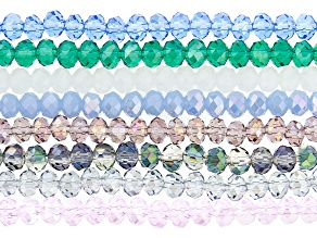 Chinese Crystal Glass appx 6mm Rondelle Bead Strands Set of 8 in Assorted Colors appx 15-16