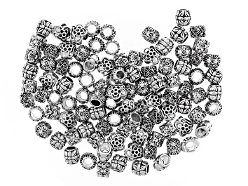 Picture of Flower Spacer Bead Large Hole Set in 5 Styles in Antique Silver Tone 100 Pieces Total