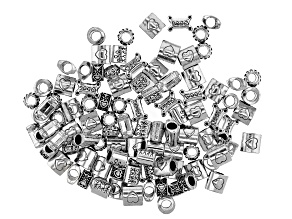 Family Love Spacer Bead Large Hole Set in 5 Styles in Antique Silver Tone 100 Pieces Total