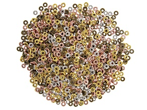 Daisy Spacer Beads appx 6mm in 4 Antique Tones appx 1,000 pieces total