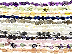 Multi-Gemstone Nugget appx 8x5mm Bead Strand Set of 12 appx 15-16""