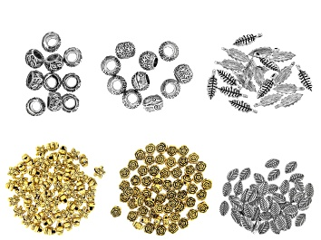 Picture of Leaf & Flower Bead Set in 6 Styles in Antique Silver Tone 210 Pieces Total