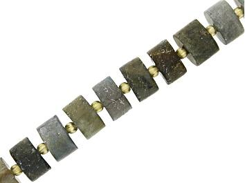"Picture of Matte Labradorite Wheel appx 9x5-11x5mm Shape Bead Strand appx 15-16"""
