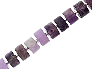 """Picture of Matte Banded Amethyst Wheel appx 9x5-11x5mm Shape Bead Strand appx 15-16"""""""