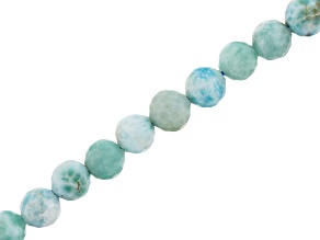 Larimar Faceted appx 6mm Round Bead Strand appx 15-16""