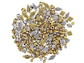 Metal Bead Kit in 5 Styles in Antique Silver & Gold Tone appx 250 Pieces Total