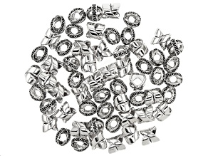 X-Shaped Metal Bead Kit in 2 Styles in Antique Silver Tone appx 60 Pieces Total