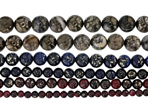"""Pyrite in Quartz Matrix appx 4-12mm Round Bead Strand Set of 6 in Assorted Colors appx 15-16"""""""
