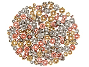 AB Crystal Spacer Beads appx 4, 6 & 8mm in Gold, Rose Gold & Silver Tone appx 200 pieces total
