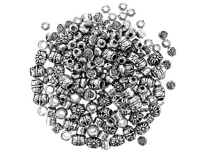 Metal Flower Spacer Bead Kit in 4 Styles in Antique Silver Tone 200 Pieces Total