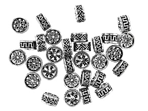 Metal Fancy Rondelle appx 12x6mm Spacer Beads in 3 Styles in Antique Silver Tone 30 Pieces Total