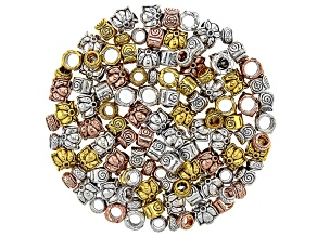 Metal Round Large Hole Spacer Beads in 3 Styles in 3 Tones 150 Pieces Total