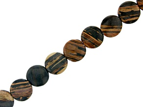 """Iron Zebra Stone Coin appx 12mm Bead Strand appx 15-16"""""""