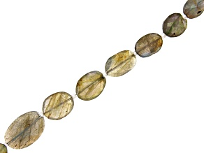 Labradorite Graduated Faceted Oval appx 13x10-19x13mm Shape Bead Strand appx 15-16""