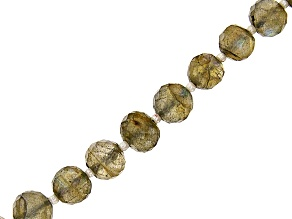 """Labradorite Graduated Faceted Round appx 5-8mm Bead Strand appx 15-16"""" with Round Spacer Beads"""