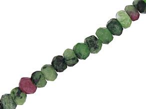 Zoisite with Ruby Graduated Faceted Rondelle appx 3-5mm Bead Strand appx 15-16
