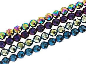 Multi-Color Hematine Faceted Round appx 6mm Bead Strand Set of 4 appx 15-16""