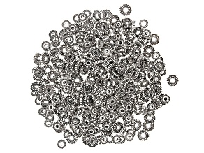 Indonesian Inspired Round Metal Spacer Beads in 2 Styles in Antique Silver Tone 500 Pieces Total