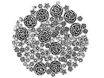 Picture of Indonesian Inspired Metal Spacer Beads in 5 Flower Styles in Antique Silver Tone 130 Pieces Total